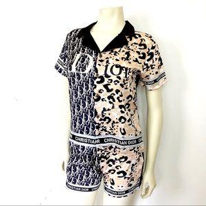 Faux Christian Dior monogram oblique silk pyjamas